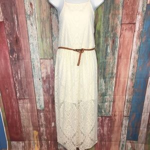 Lily Rose Dresses - NWOT off white laced maxi belted Dress